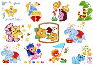 ABC Designs Baby Kids 3 Machine Embroidery Designs Set 4x4 Hoop