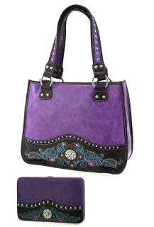 Purple Western Rhinestone Flower Handbag Flat Wallet