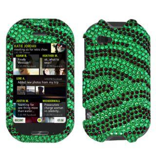 Sharp Kin Two Cell Phone Black Green Zebra Full Bling Stone Case Cover