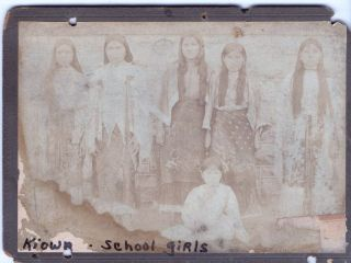 KIOWA School Girls Native Indians Cabinet Card CA 1870 Authentic