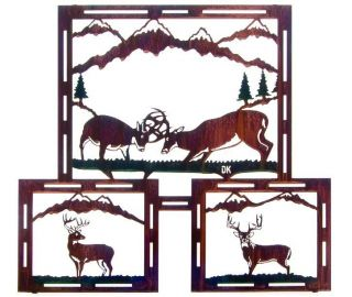 Fighting Bucks by Daniel Kirchner Lodge Whitetail Deer Laser Cut Metal
