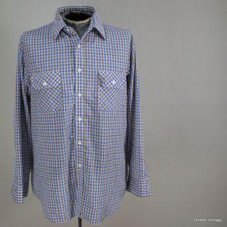Vtg Mens 80s KINGSPORT Plaid STRAIGHT COLLAR Dress Shirt LARGE Button