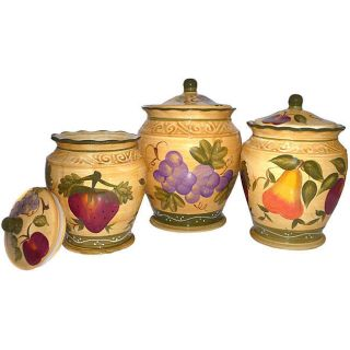 Collection Deluxe Handcrafted 3 Piece Kitchen Canister Set