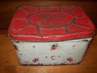 Metal Breadbox USA Red Kitchen Bread Box Tulip