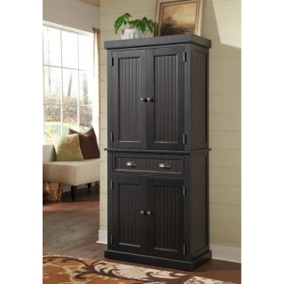 Kitchen Storage Cabinet Pantry Distressed Black Finish New