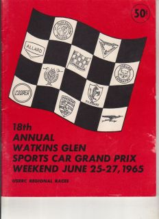 1965 Program SCCA USRRC Sports Car Race Watkins Glen Jim Hall Hap