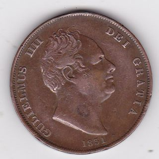 1831 GREAT BRITAIN KING WILLIAM IV 1 ONE PENNY BRITISH COIN SCARCE