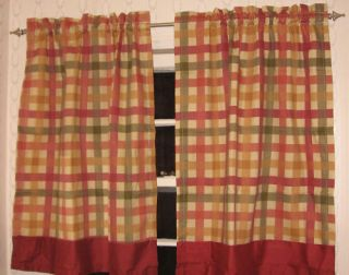 Seville Kitchen Tier 1 Pair Curtains 24 Red Check Plaid Cabin Rustic