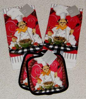 PC Fat Chef Bistro Decor Kitchen Towels Pot Holder Set New