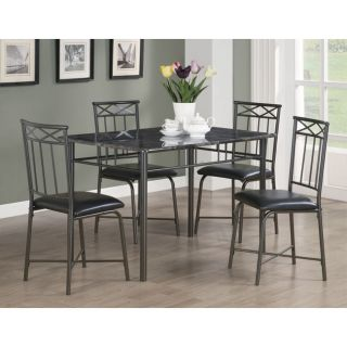 Marble 5 Piece Dining Room Set Kitchen Furniture Table And Chairs New