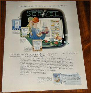 SERVEL Antique Electric REFRIGERATOR Kitchen AD Model S 10 w/S 5 & S 7