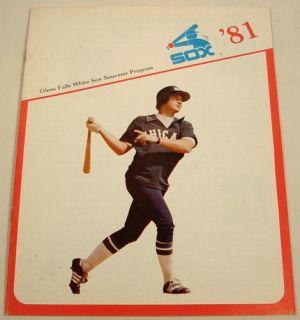 Glens Falls Chicago White Sox 1981 Program Ron Kittle