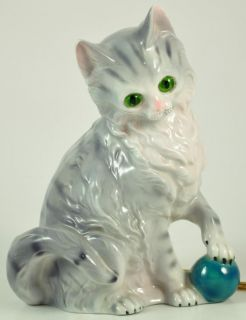 Kitty Cat with Ball Perfume Lamp Scent Night Light Vintage Gray German