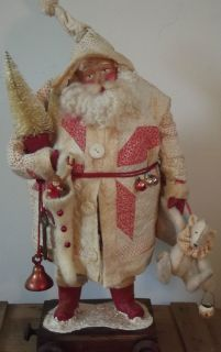 Kims Klaus OOAK Handmade Santa Claus Teddy Antique Quilt Tree Vintage