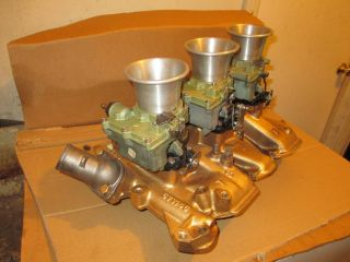 1957 1958 Olds J2 Tri Power 3x2 Intake Manifold Rockester Carburetors