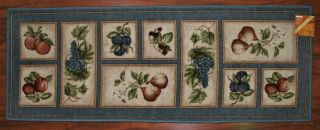 2X5 Kitchen Rug Mat Lite Blue Washable Mats Rugs Fruit Grapes Pears