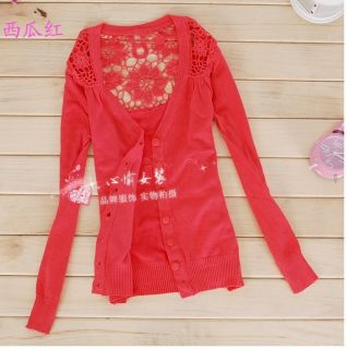 Womens Ladys Hollow Red Knitting Cardigan Sweater Tops