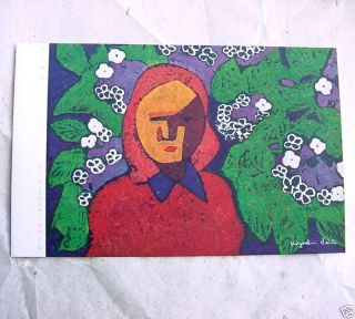 KIYOSHI SAITO Genuine MIXED MEDIA Print VINTAGE ART on FOLDING CARD