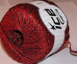 ICE Yarns knitting supplies Samira ribbon yarn 50gr ball metallic Red