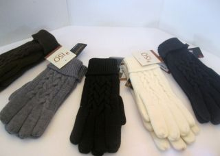 Womens Isotoner Cable Knit Gloves White Brown Navy Gray Black 28 00