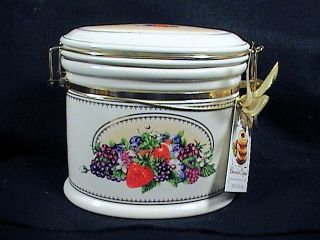 Knotts Berry Farm Ceramic Canister Biscotti Jar Cookie Jar Latched