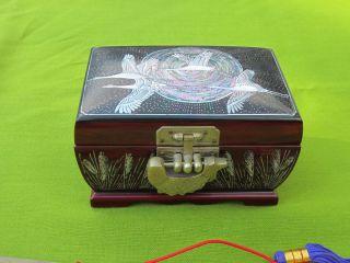 Pearl Korean Red Wood Black Lacquer Jewelry Treasure Box w Fish Lock