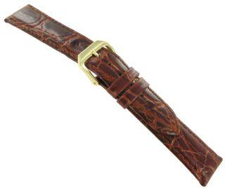 18mm Kreisler Crocodile Grain Tan Brown Leather Watch Band Strap