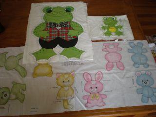 Vtg Printed CLOTH Stuffed DOLL Animal Spring Mills Frog Bunny Bear Dog