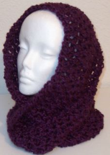 Hand Crocheted Infinity Eternity Scarf Grape Lion Homespun Yarn