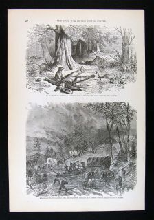 Leslie Civil War Print Dog Watching over Dead Master Baggage Train in