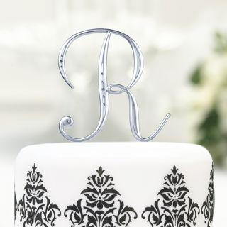 Silver Crystal Monogram Letter L Cake Topper Caketop