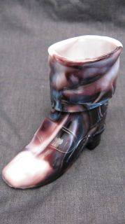 Antique Purple Slag Glass Cowboy Boot Toothpick Holder