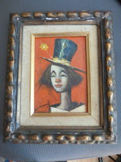 Williams Listed Artist ClownOil Painting Artist Signed