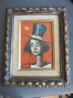 Williams Listed Artist ClownOil Painting Artist Signed