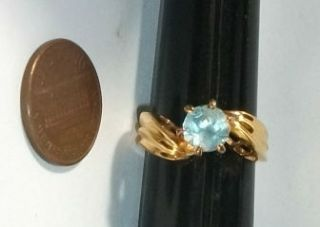Estate Find Vintage 14k GP Light Blue Zircon Size 7 1 2 Ring