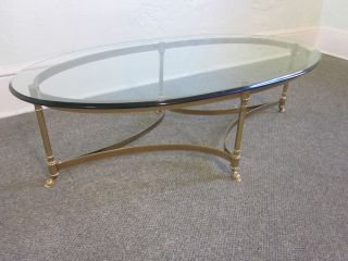 Labarge Brass Glass Regency Coffee Table with Hoof Feet