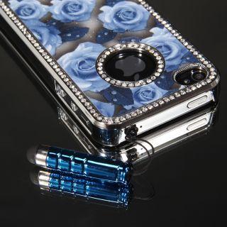 Bling Chrome Diamond Cover Case W/ Blue Rose Flower For iPhone 4 4S
