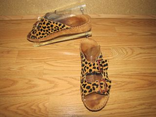 La Plume Animal Print Suede Strappy Sandals Womens 8 5 Int 39
