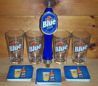 Labatt Blue Tap Handle Keg Marker 4 Beer Pint Glasses 30 Coasters New