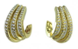 New Ladies Kwiat 18K Yellow Gold Diamond Three Row Earrings
