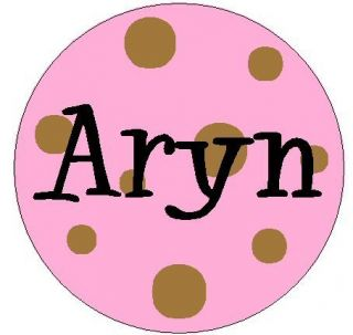 Your Name on Pink Polka Dots 1 Round Labels Stickers
