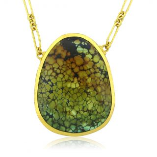 New Gurhan 24K Yellow Gold Turquoise Pendant Necklace $15150