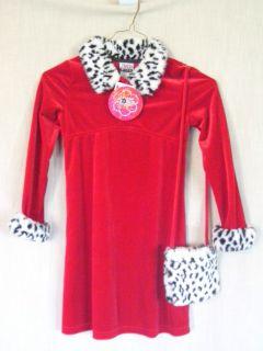 Zoey Girl Red Stretch Velvet Christmas Dress Fur Collar With Handbag