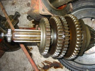Farmall H Transmission Upper Shaft with Gears and Bearings