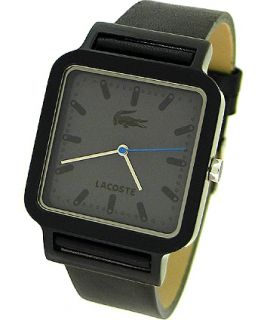 Lacoste Date Black Leather Strap Mens Watch 2020022