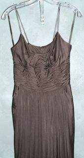 Oscar de la Renta Dress Chocolate Brown Silk Full Length Gown Ruching