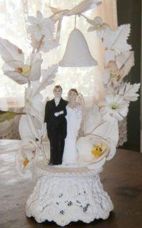 Vintage Lacy Molded Sugar Wedding Cake Topper 1940s 1950s Bride Groom
