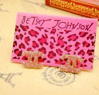 Betsey Johnson Sweet Pink Rhinestones Women Earrings E136