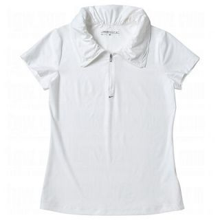 New Nike Golf Womens Convert Collar Shirt Dri Fit Large LG L $65 White