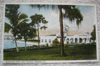 1930s Municipal Pier Lake Jackson Sebring FL Postcard